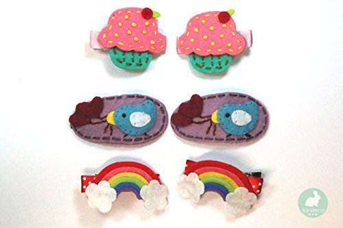 6pc Felt Hair Clip Set | Rainbow, Bird, and Cupcake Handmade Clips for Baby and Girls