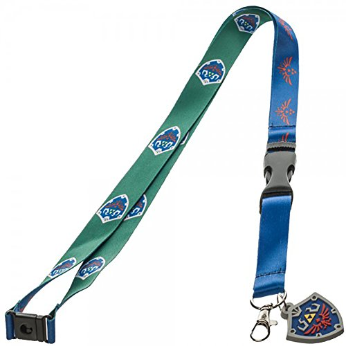 Nintendo Zelda Skyward Shield and Crest Lanyard with Rubber Logo Charm and Sticker