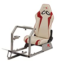 GTR Racing Simulator GTA-S-S105LWHTRD GTA Model Silver Frame with White/Red Real Racing Seat, Driving Simulator Cockpit Gaming Chair with Gear Shifter Mount