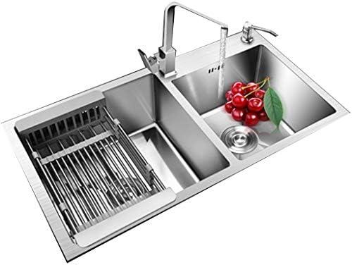 流し台シンク レストランスクエアダブルスロット ステンレス鋼の野菜と果物の洗浄テーブル 浴室用ステンレス鋼洗面器 (Color : Gray, Size : 81*43cm)