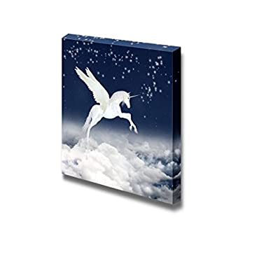 Alluring Artistry, White Unicorn Flying in The Sky Wall Decor, Original Creation