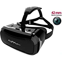 AuraVR PRO vr headset Glasses/Virtual Reality Gear with 42mm lenses, Individual Lens adjustment