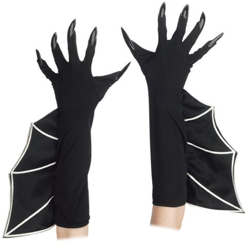 Loftus International Loftus Long Flaired Bat Witch Costume Gloves w Attached Nails, Black, One-Size Novelty Item