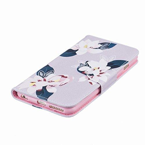 Cover iPhone 6s Custodia, Ougger Colorato Flowers Portafoglio Card Slot PU Pelle Magnetico Stand Silicone Flip Bumper Protettivo Cover Case Custodia per Apple iPhone 6s (4.7)