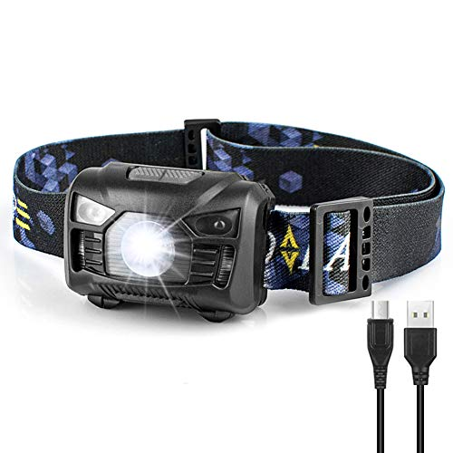 Headlamp - Mosteck LED Headlamp Rechargeable 6 Light Modes with Adjustable Headband, 2.2oz Lightweight Bright Running Headlamp Fashlight for Kids & Adults Camping Hiking Hunting, Warranty for 2 Years