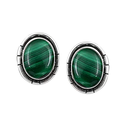 Genuine Oval Shape Malachite Stud Earrings 925 Silver Plated Handmade Jewelry For Women Girls ()