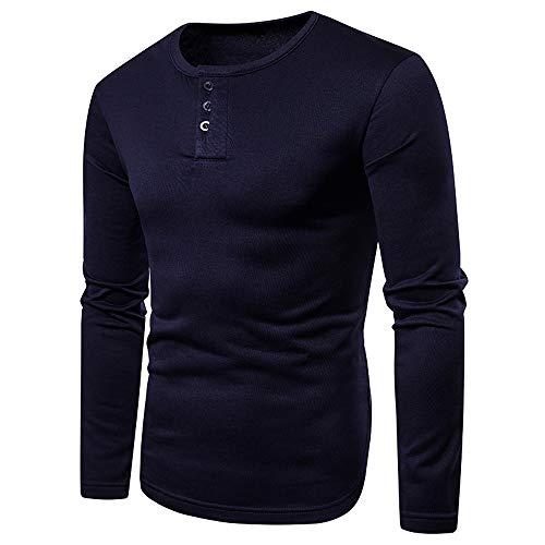 56bb3cad9e091 Men s Hoodies, Men s Casual Autumn Winter Long Sleeve Solid Henry Collar T-Shirt  Top