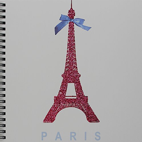 3dRose db_112907_1 Hot Pink Eiffel Tower from Paris with Girly Blue Ribbon Bow-White Stylish Parisian France Souvenir-Drawing Book, 8 by 8-Inch