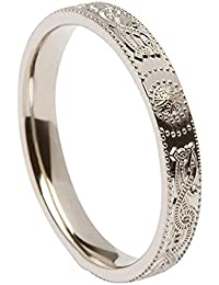 Ladies Warrior Shield Celtic Wedding Band Silver From Ireland