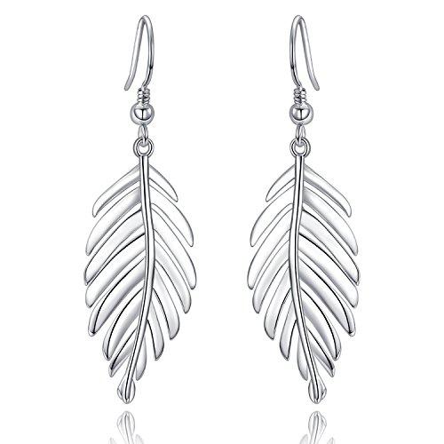 Shape Leaf Silver Sterling - UMODE Jewelry 925 Sterling Silver Leaf Drop Dangle Earrings For Women Fishing Hook