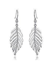 UMODE Jewelry 925 Sterling Silver Leaf Drop Dangle Earrings For Women Fishing Hook