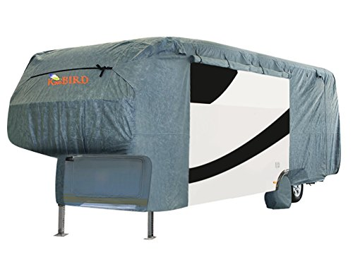 Extra-thick 4-Ply Top Panel & 4Pcs Tire Covers Kingbird Deluxe 5th Wheel RV Cover, Fits 33'-37' RV Cover -Breathable Water-repellent Rip-stop Anti-UV with Storage Bag (33'-37') 5th Wheel Cover Fits