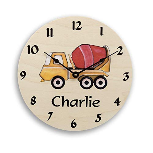 (Personalized wall clock for boys. Boy's clock. Cement truck cartoon clock. Custom clock. Nursery clock.)