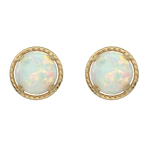 - 10k Yellow Gold Round Genuine Birthstone Halo Stud Earrings Month 10