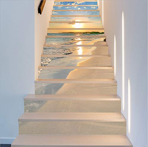 FLFK 13PCS/Set 3D Sunrise Ocean Beach Self-Adhesive Stair Risers Stickers Vinyl Staircase Stickers Stairway Decal Wallpaper 39.3Inch x7.08Inch by FLFK (Image #1)