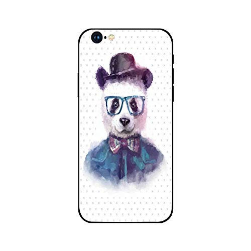 - Phone Case Compatible with iphone6 iphone6s mobile phone covers phone shell Brandnew Tempered Glass Backplane,Funny,Vintage Hipster Panda with Bow Tie Dickie Hat Horn Rimmed Glasses Watercolor Style,B