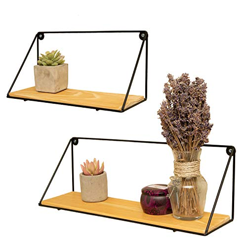 Ivy&Lake Floating Shelves Set of 2 Wall Mounted Real Wood for Bedroom, Bathroom, Kitchen, Living Room, Office
