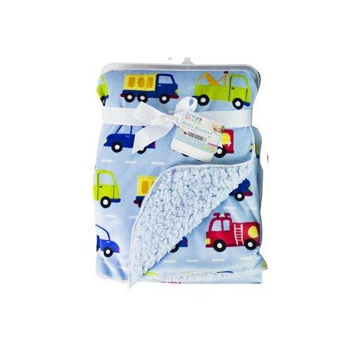 Baby Sherpa Mink Printed Pram Buggy Blanket Wrap Thick, Blue Transport Hoolaroo