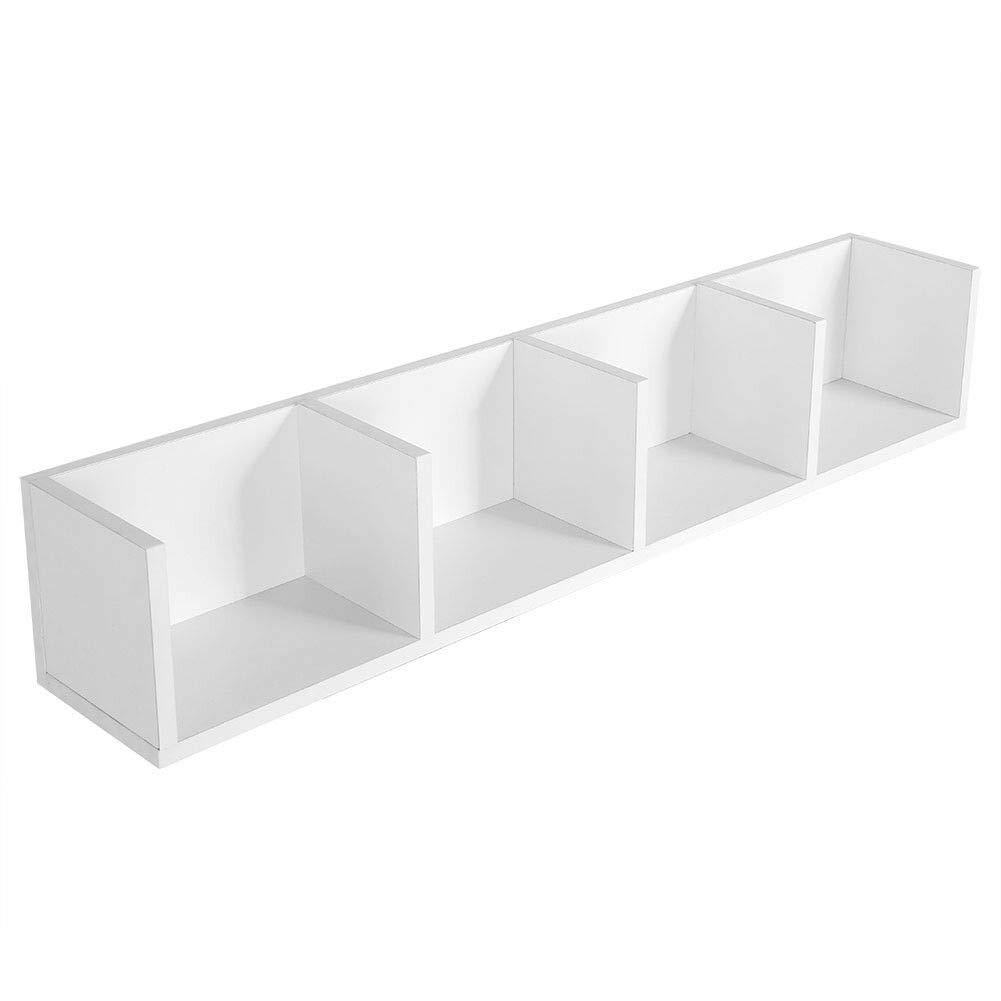SRW1961 Modern Wall Mount Display Shelf CDs DVD Media Storage Rack Wooden White Color Unit 4 Cubes by SRW1961