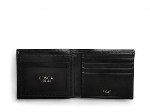 Bosca Men's Old Leather Collection - Eight-Pocket Deluxe Executive Wallet w/Passcase Black One - Black Leather Executive Tigers