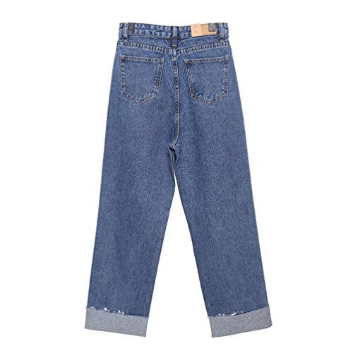 Pantalons Jeans Taille Bleu Trou Retro Haute Lihaer Femmes Taille Denim Pour Pantalon Casual Large Grande Jeans 8qYnw6U1F