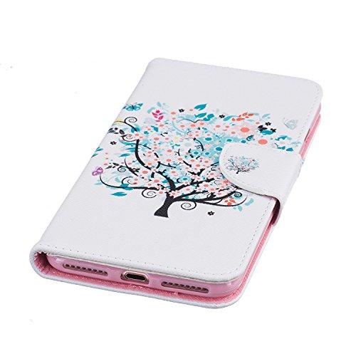 Voguecase® für Apple iPhone 7 Plus hülle,(Frühling) Kunstleder Tasche PU Schutzhülle Tasche Leder Brieftasche Hülle Case Cover + Gratis Universal Eingabestift