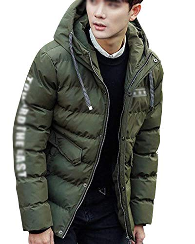 Armee Parka Jacket Apparel Hooded Jacket with Jacket Men's with Winter Coat Jacket Coat grün Warm Zipper Drawstring Outerwear aW84FxnZdn