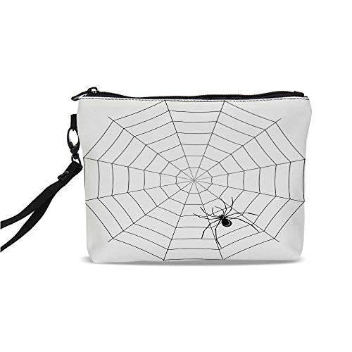 (Spider Web Simple Cosmetic Bag,Toxic Poisonous Insect Thread Crawly Malicious Bug Halloween Character Design Decorative for Women,9
