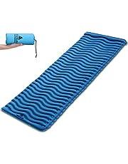 Camping Isomatte Ultraleicht von HIKENTURE, Schlafmatte Kleines Packmaß in Welle-Design, Aufblasbare Luftmatratze Leicht aus Polyestergewebe für Camping, Trekking, Reise, Wandern, 188x60 cm, 2 Farben