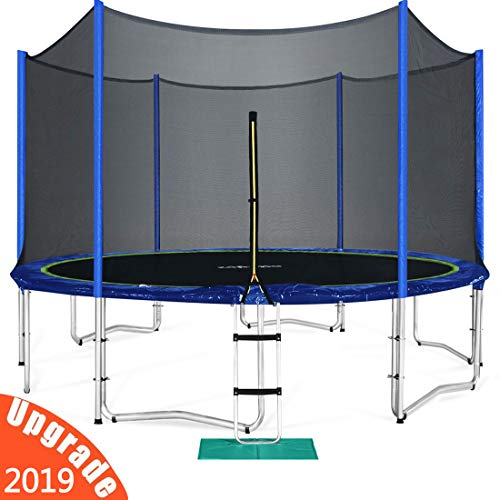 3rd Anniversary Sale! Zupapa TUV Approved 15 FT Round Trampoline Combo Set with Safety Enclosure and Pole & Ladder & Jumping Mat & Spring pad & Pull T-hook
