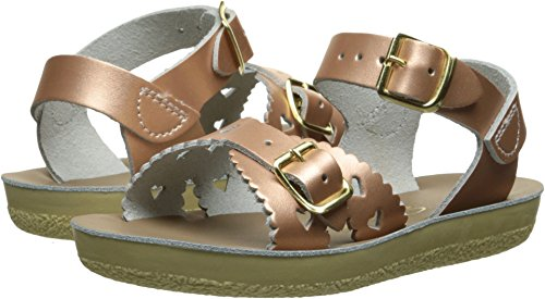 Salt Water Sandals by Hoy Shoe Girls' Sun-San Sweetheart-K Flat Sandal, Rose Gold, 1 M US Little Kid