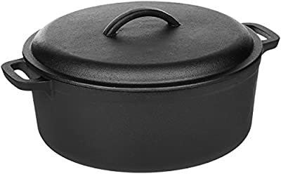 AmazonBasics Pre-Seasoned Cast Iron Dutch Oven with Dual Handles