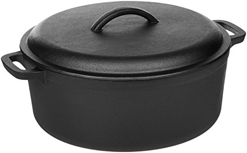 - AmazonBasics Pre-Seasoned Cast Iron Dutch Oven Pot with Lid and Dual Handles, 7-Quart