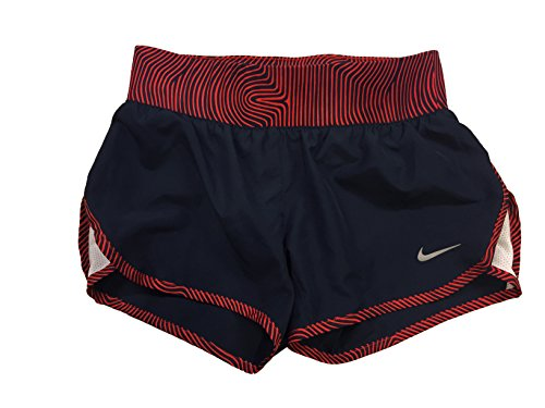 Nike Tempo Rival Allover Print 1 Girls' Running Shorts-Obsidian (728088-696) / Red/Reflective - Kids 696