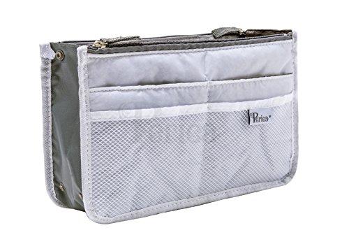 Periea Handbag Organizer, Liner, Insert 12 Compartments - Chelsy (18 Colors, 3 Sizes) (Small, White) - Small Bag Organizer
