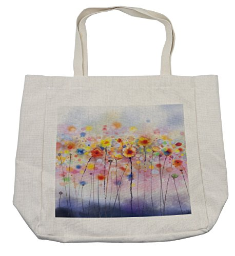 (Lunarable Watercolor Flower Shopping Bag, Flowers in Soft Colors Dreamy Abstract Colorful Blurred Display, Eco-Friendly Reusable Bag for Groceries Beach Travel School & More, Cream)