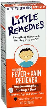 Little Remedies Children's Fever+Pain Reliever Liquid Natural Grape Flavor - 4 oz, Pack of 6 by Little Remedies