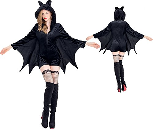 Halloween Bat costumes for women, Witch Sorceress Angel Queen Party Cosplay Ladies Saints Jumpsuits Costume - Miss (Info About Halloween Costumes)