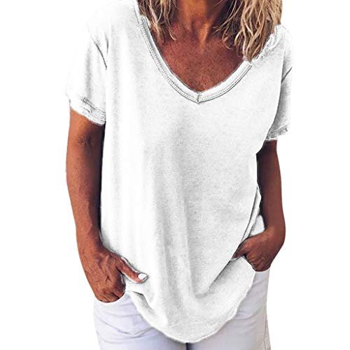 - Fshinging Womens Solid Color Plus Size Blouse Tops Casual V Neck T-Shirt Short Sleeve Basic Tops Homewear(White,XXXXL)