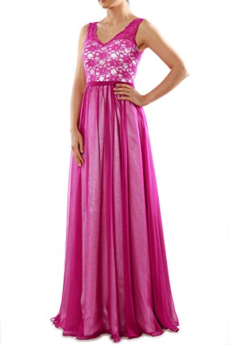 MACloth Women Two Tone V Neck Lace Long Bridesmaid Dress Evening Formal Gown Fuchsia