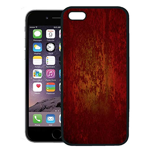 Semtomn Phone Case for iPhone 8 Plus case,Orange Red Peeling Paint Crackled Rough Rust Stain for Old Rustic Warm Autumn Country Western Vintage iPhone 7 Plus case Cover,Black