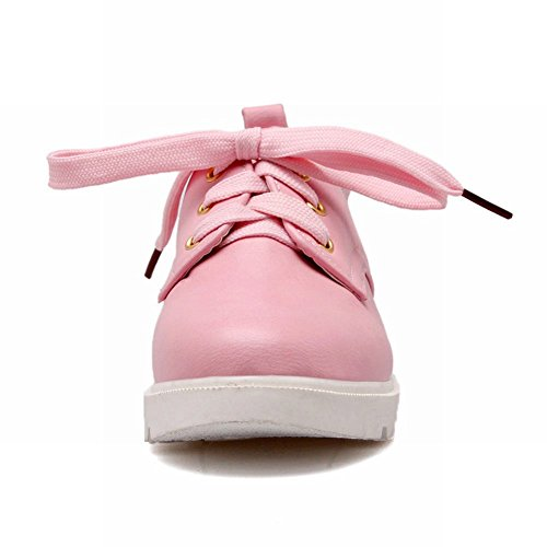 Carolbar Womens Lace up Fashion Casual Sweet Cute Comfort Street Oxfords Shoes Pink Ydhcacth6Q