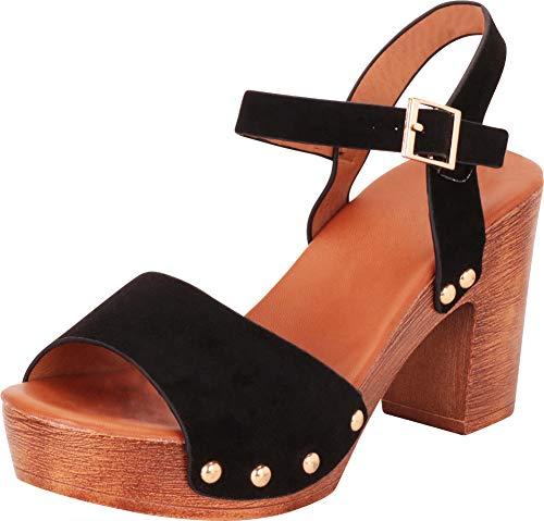 (Cambridge Select Women's Retro 70s Open Toe Studded Chunky Platform Block Heel Sandal,7 B(M) US,Black IMSU)