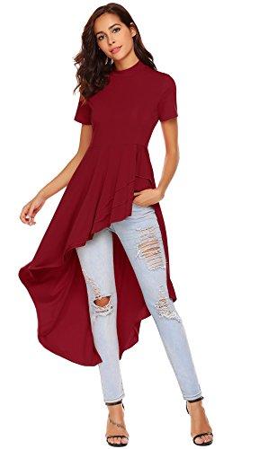 SimpleFun Women Short Sleeve High Low Peplum Dress Bodycon Casual Party Club Maxi Dress Tops(Red,S)