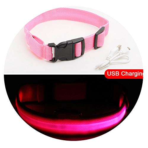 Love super store-sportinggoods USB Charging Led Dog Collar Anti-Lost/Avoid Car Accident Collar for Dogs Puppies Dog Collars Leads LED Supplies Pet Products,Pink,XL 52-60 cm -