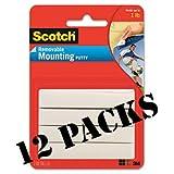Scotch Adhesive Putty White 2oz 860 Pack Of 12