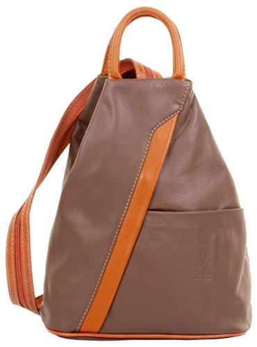 Primo Sacchi Italian Soft Napa Leather Dark Taupe Tan Top Handle Shoulder Bag Rucksack Backpack by Primo Sacchi