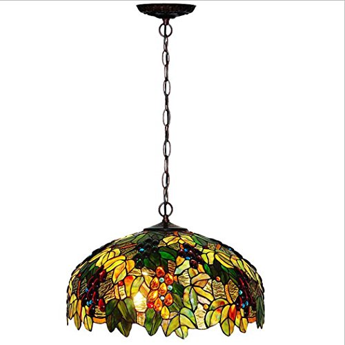 Tiffany Style Hanging Lights Grape Ceiling Pendant Fixture Stained Glass Lampshade Metal Chain Ceiling Lamp 110-240V/E273