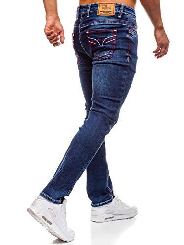 702 6F6 Pantalón Fit Estilo Hombre Vaquero Oscuro BOLF Azul Slim Rojo Clubwear Y Diario SBOqnF