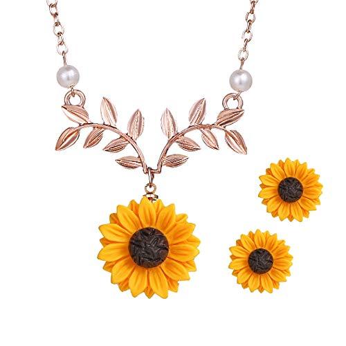 (17mile Sunflower Pearl Leaf Chain Resin Boho Handmade Drop Pendant Choker Necklace Plated Gold/Rose Gold/Silver (Rose Gold Set-Leaf))